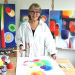 Mary Chaplin, painter in her studio