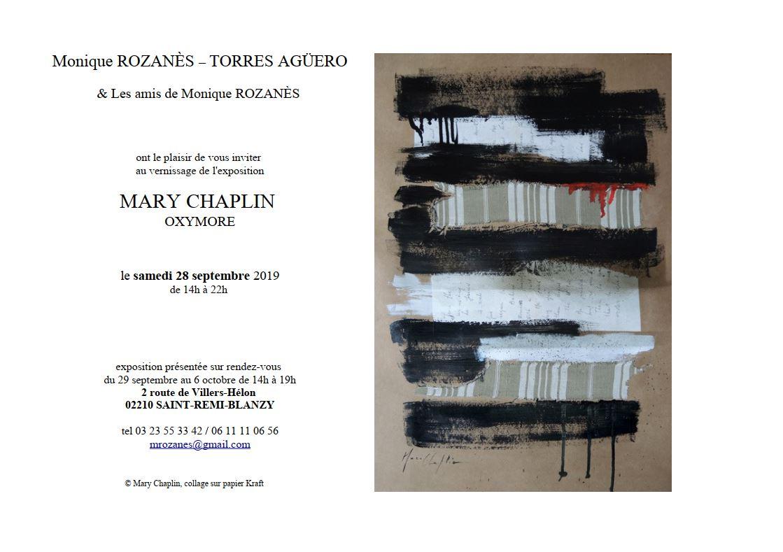 Invitation à l'exposition 'Oxymores' de Mary Chaplin à l'atelier de Monique Rozanes