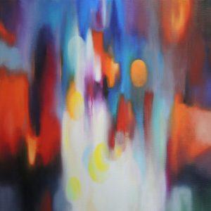 Conversation, oil on canvas, 80x80cm