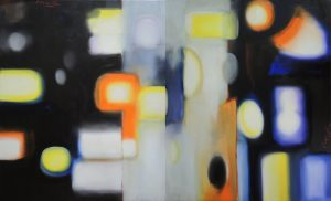 Nighttime wanderings, dyptich, oil on canvas, 2x60x73cm