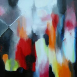 Silent reflections turn my world to stone, acrylic on canvas, 100x100cm