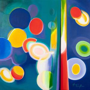 Blue sun, acrylic on canvas, 100x100cm